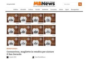 """Dicono di Noi. MBNews """"Una maglietta per aiutare il San Gerardo"""""""